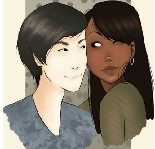 asian man black woman